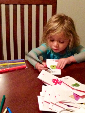 working on her valentine's